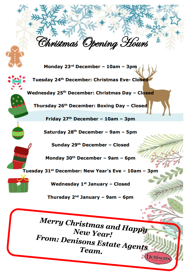 Denisons Christmas Opening Hours